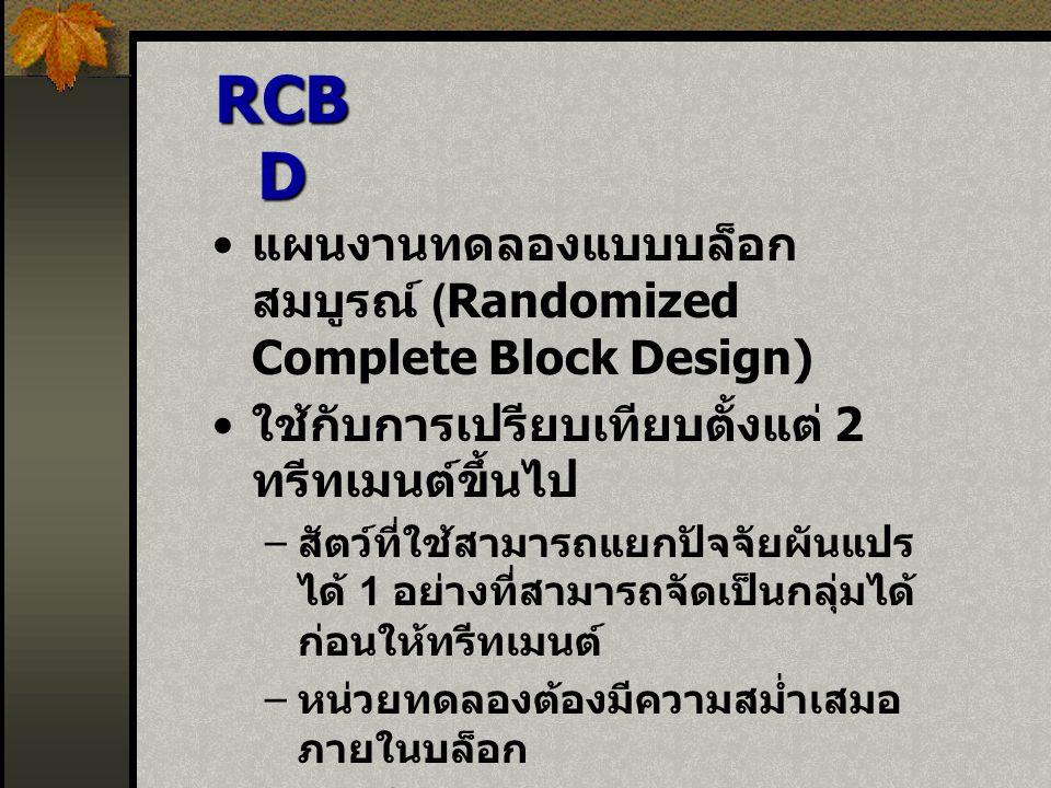 RCBD แผนงานทดลองแบบบล็อกสมบูรณ์ (Randomized Complete Block Design)