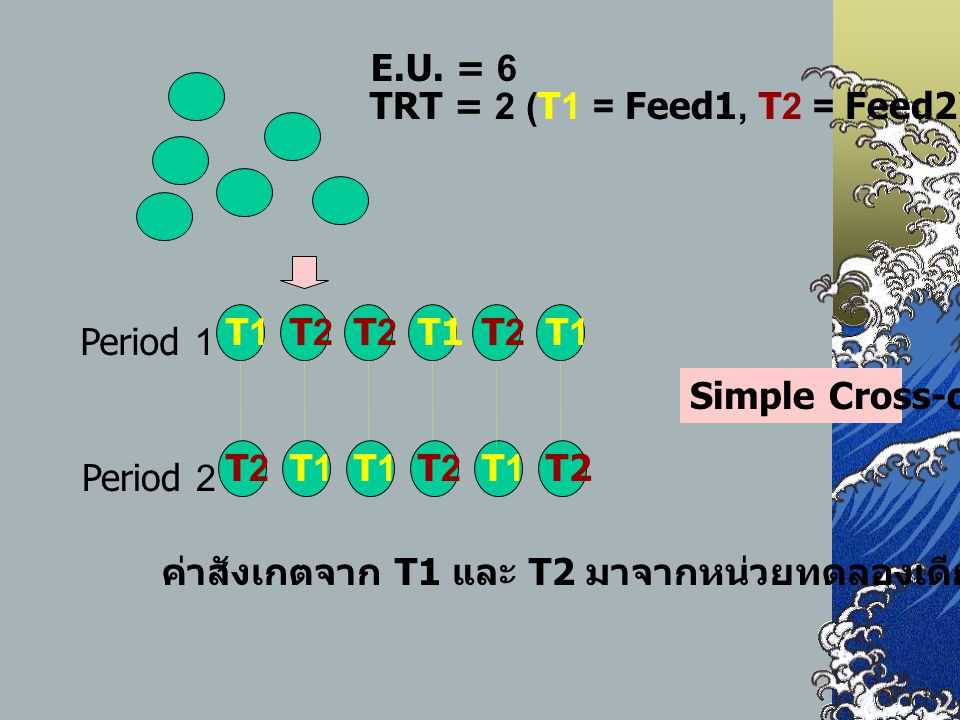 E.U. = 6 TRT = 2 (T1 = Feed1, T2 = Feed2) Period 1. T1. T2. Period 2. Simple Cross-over. T1. T2.