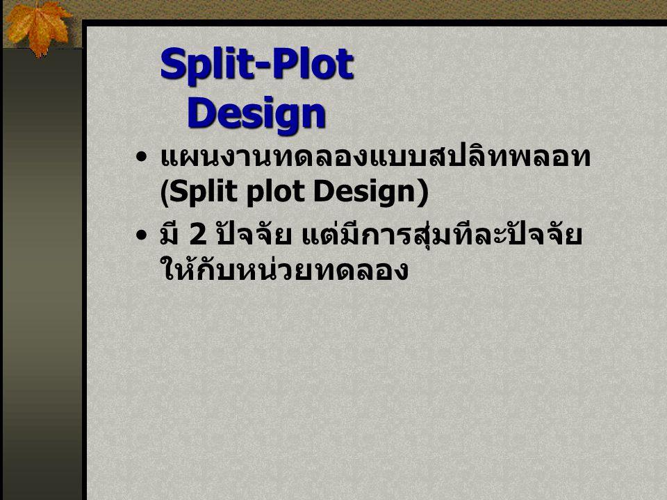 Split-Plot Design แผนงานทดลองแบบสปลิทพลอท (Split plot Design)