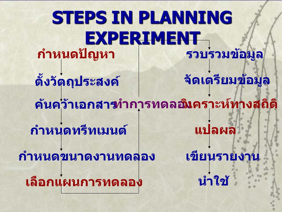 STEPS IN PLANNING EXPERIMENT