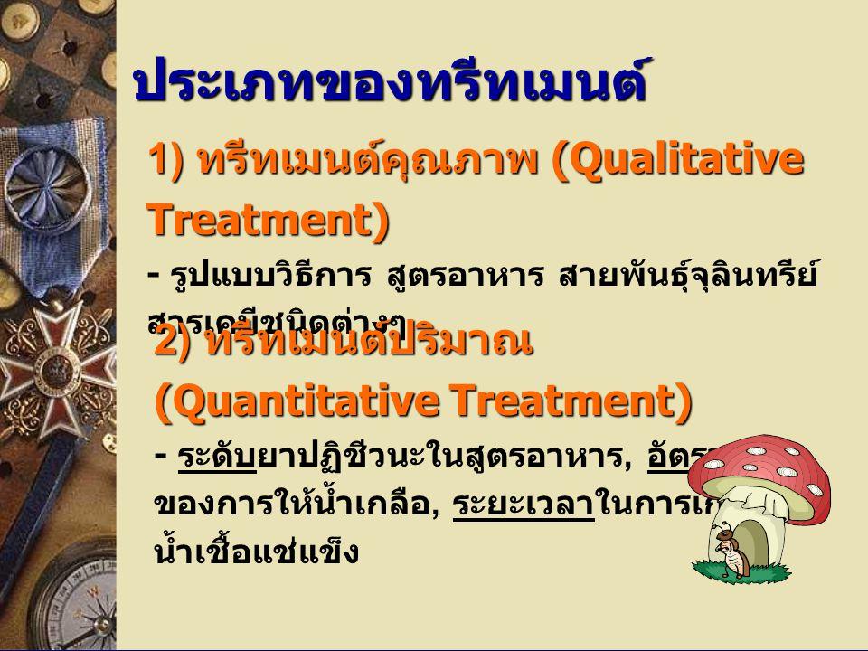 ประเภทของทรีทเมนต์ 1) ทรีทเมนต์คุณภาพ (Qualitative Treatment) - รูปแบบวิธีการ สูตรอาหาร สายพันธุ์จุลินทรีย์ สารเคมีชนิดต่างๆ.