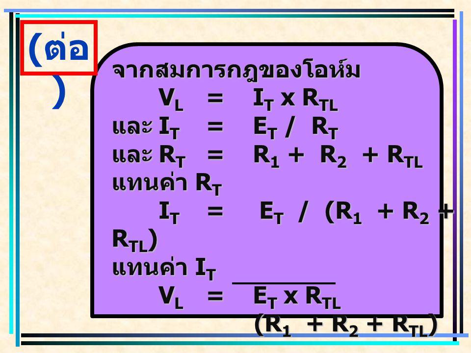 (ต่อ) จากสมการกฎของโอห์ม VL = IT x RTL และ IT = ET / RT
