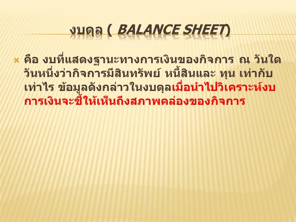 งบดุล ( Balance Sheet)