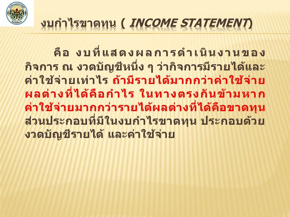 งบกำไรขาดทุน ( Income Statement)