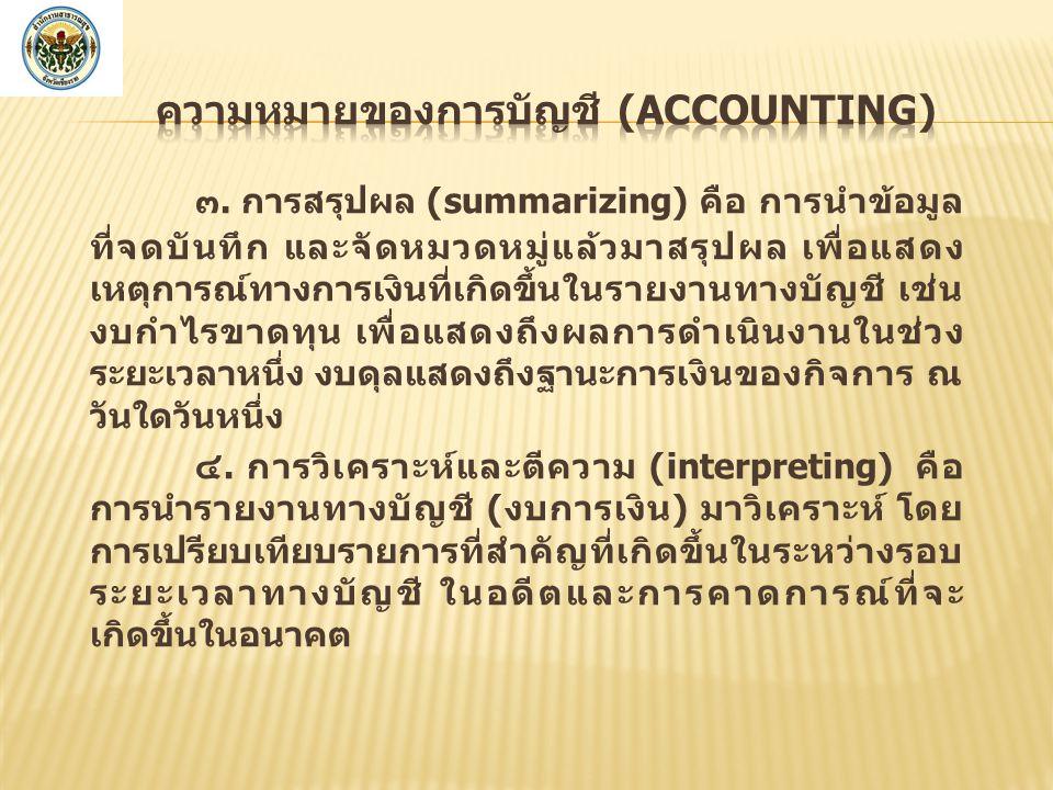 ความหมายของการบัญชี (Accounting)