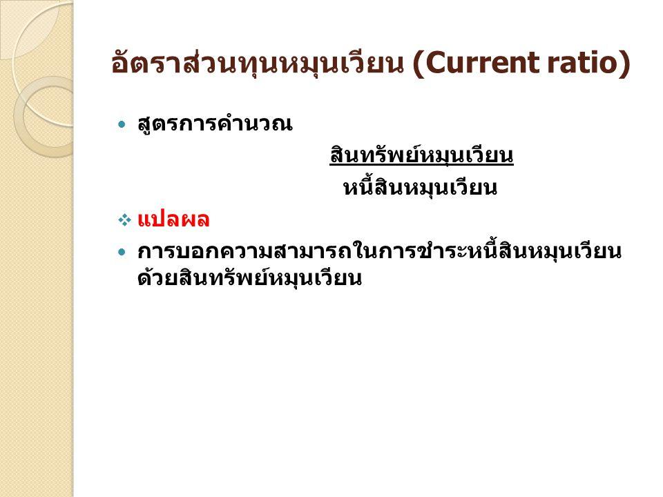 อัตราส่วนทุนหมุนเวียน (Current ratio)