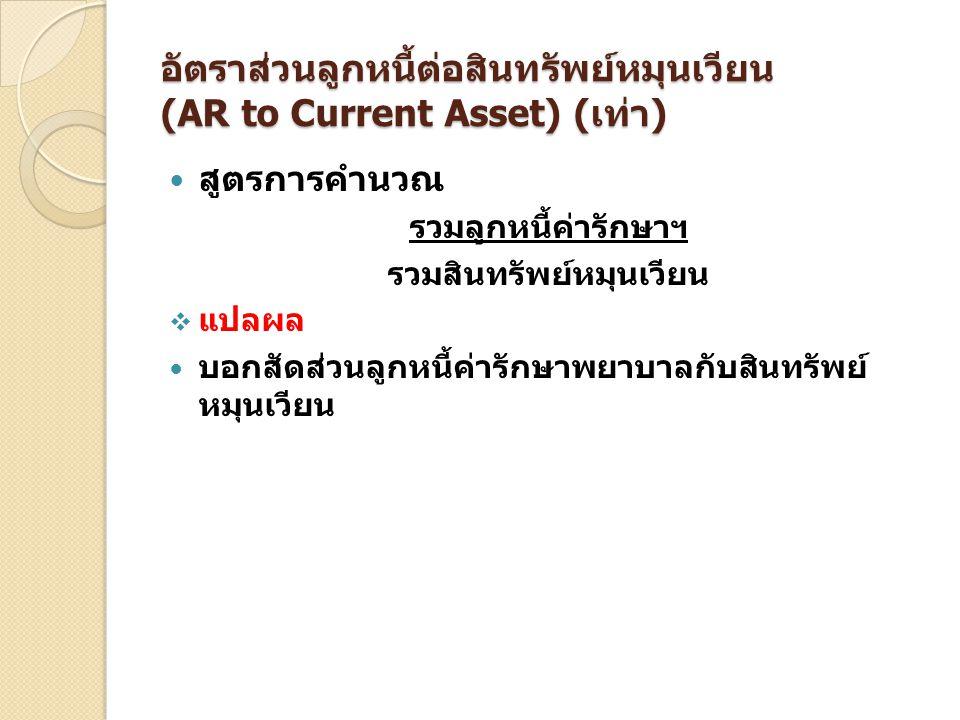 อัตราส่วนลูกหนี้ต่อสินทรัพย์หมุนเวียน (AR to Current Asset) (เท่า)