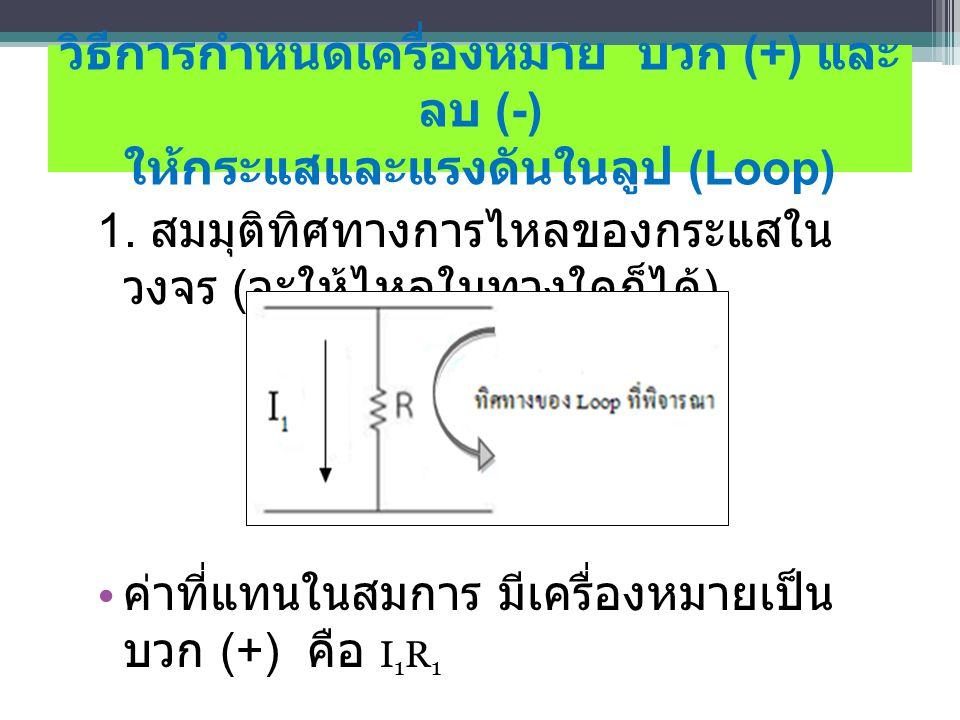 วิธีการกําหนดเครื่องหมาย บวก (+) และ ลบ (-) ให้กระแสและแรงดันในลูป (Loop)