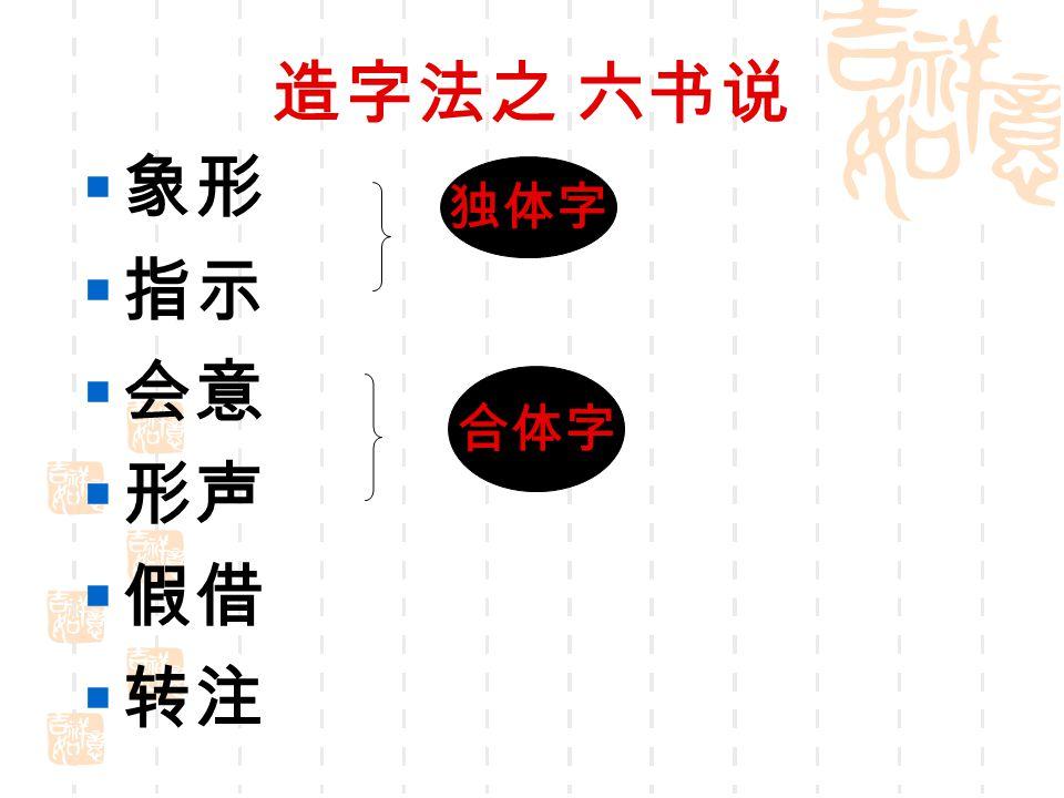 造字法之 六书说 象形 指示 会意 形声 假借 转注 独体字 合体字