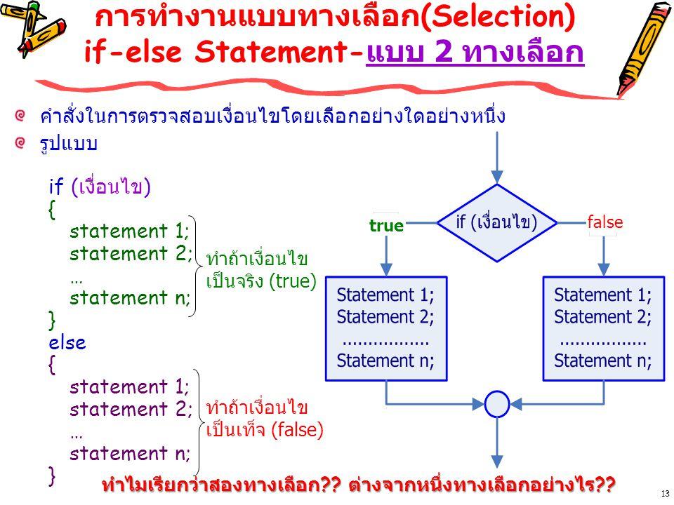 การทำงานแบบทางเลือก(Selection) if-else Statement-แบบ 2 ทางเลือก