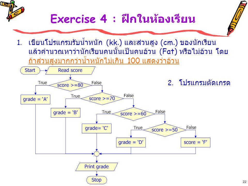 Exercise 4 : ฝึกในห้องเรียน