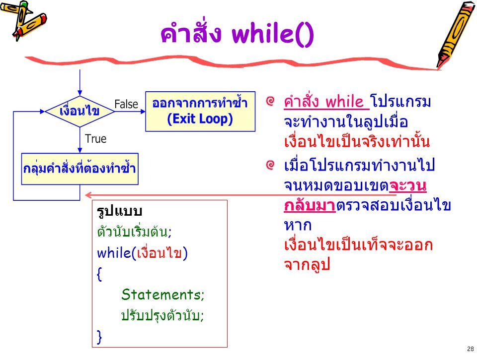 คำสั่ง while() คำสั่ง while โปรแกรม จะทำงานในลูปเมื่อ เงื่อนไขเป็นจริงเท่านั้น.