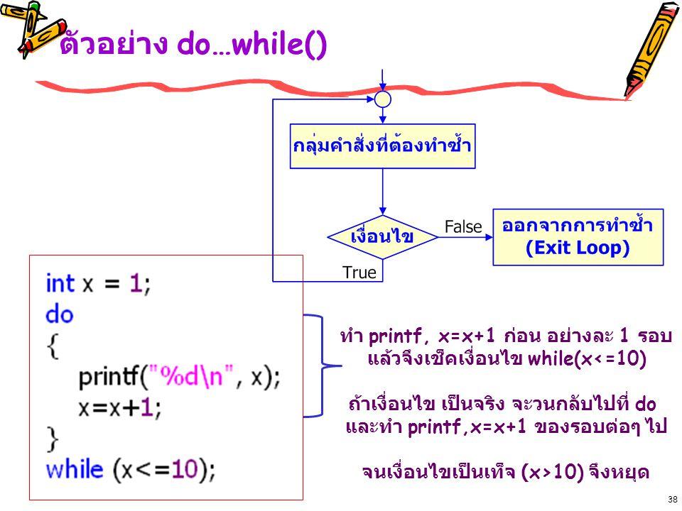 ตัวอย่าง do…while() ทำ printf, x=x+1 ก่อน อย่างละ 1 รอบ