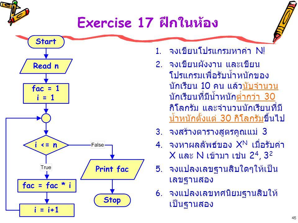 Exercise 17 ฝึกในห้อง จงเขียนโปรแกรมหาค่า N!