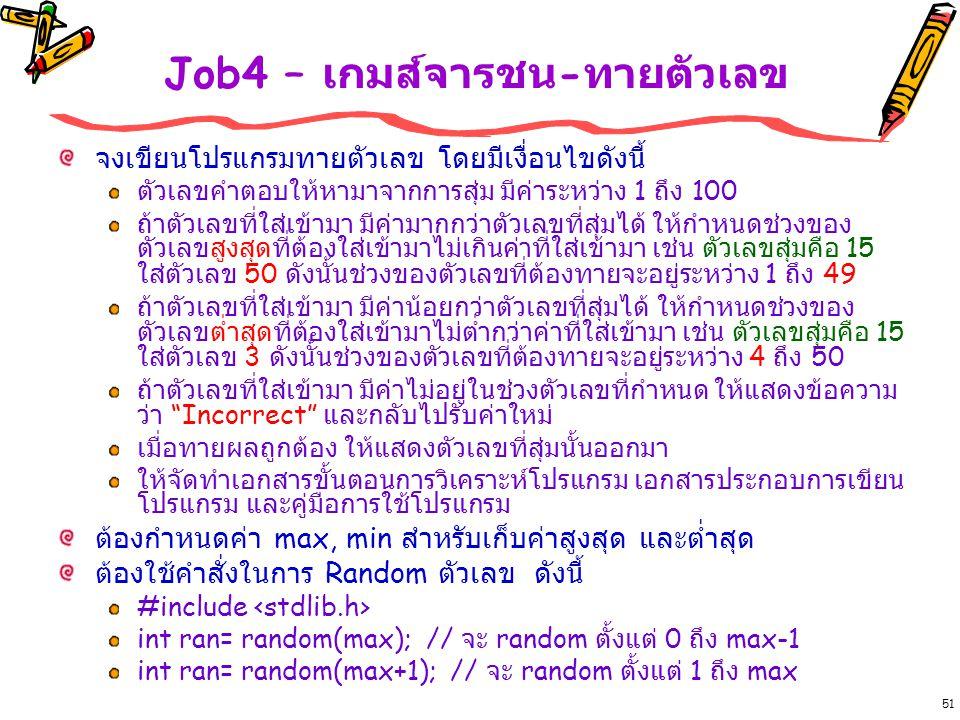 Job4 – เกมส์จารชน-ทายตัวเลข