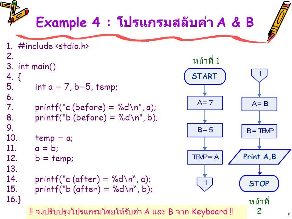 Example 4 : โปรแกรมสลับค่า A & B