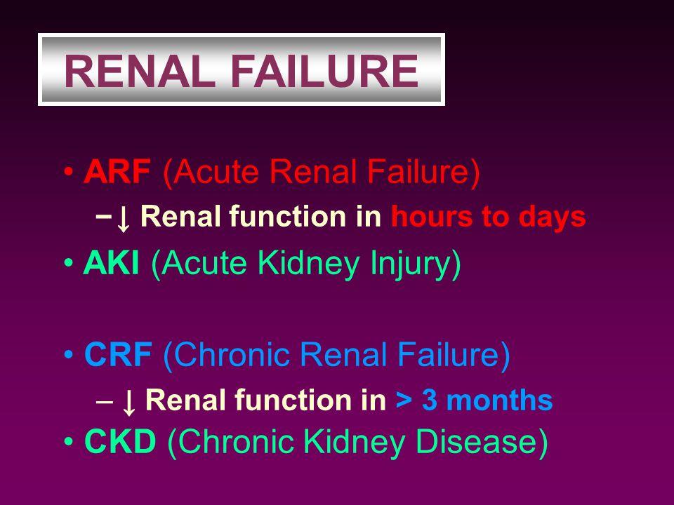 RENAL FAILURE ARF (Acute Renal Failure) CRF (Chronic Renal Failure)
