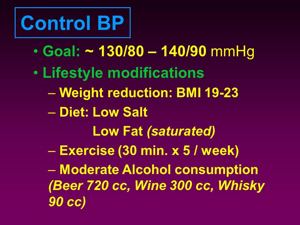 Control BP Goal: ~ 130/80 – 140/90 mmHg Lifestyle modifications