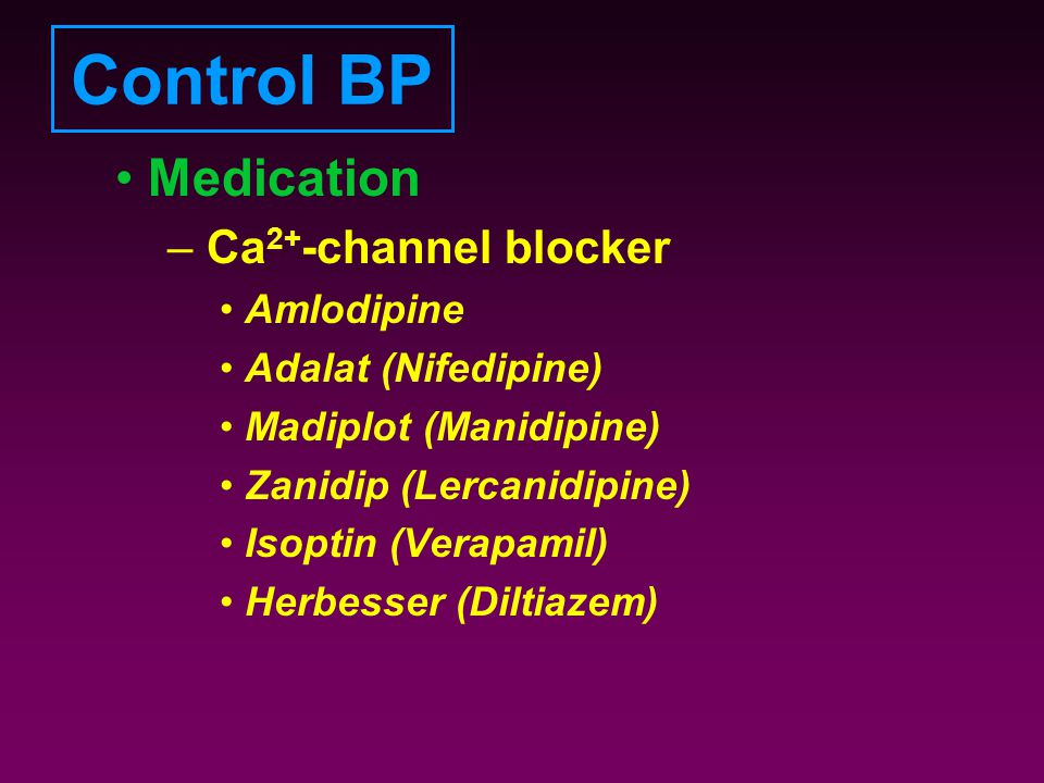 Control BP Medication Ca2+-channel blocker Amlodipine