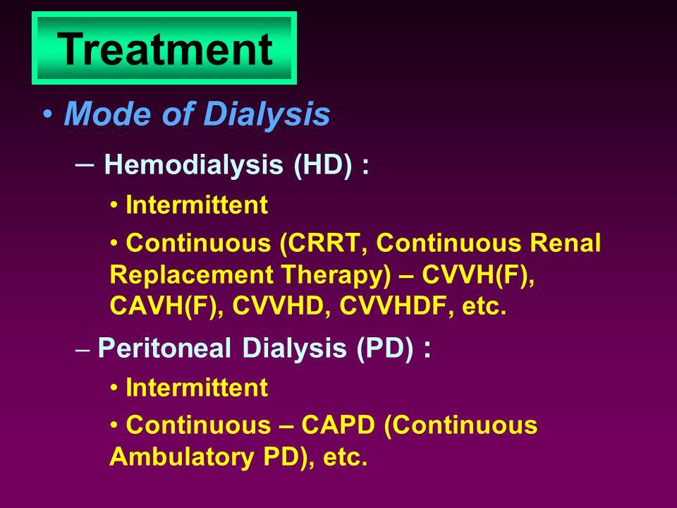 Treatment Mode of Dialysis Hemodialysis (HD) : Intermittent