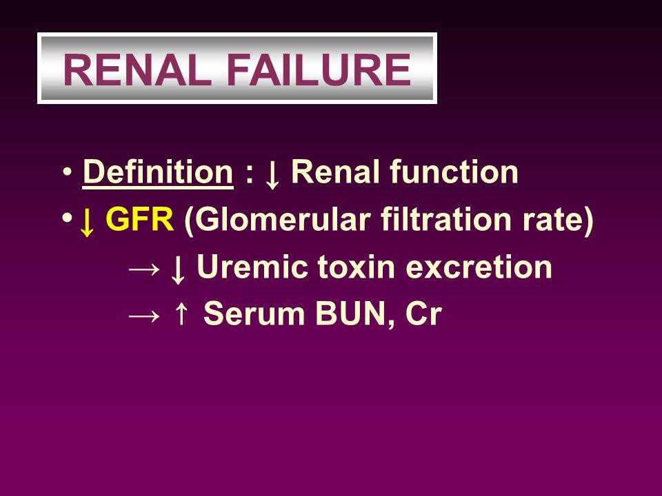 RENAL FAILURE Definition : ↓ Renal function