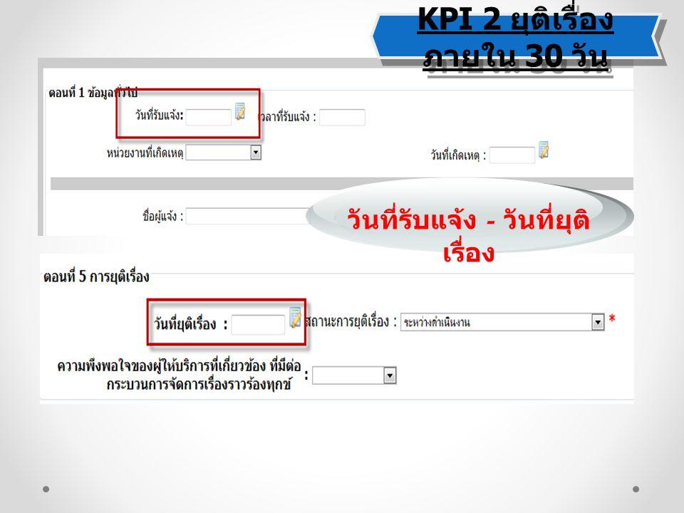KPI 2 ยุติเรื่องภายใน 30 วัน