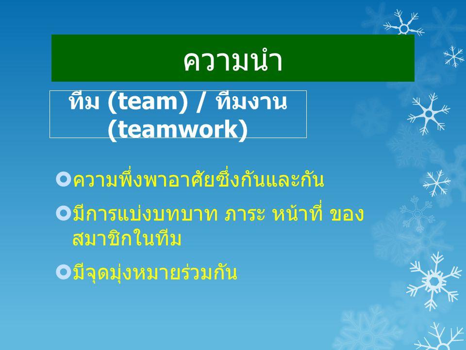 ทีม (team) / ทีมงาน(teamwork)