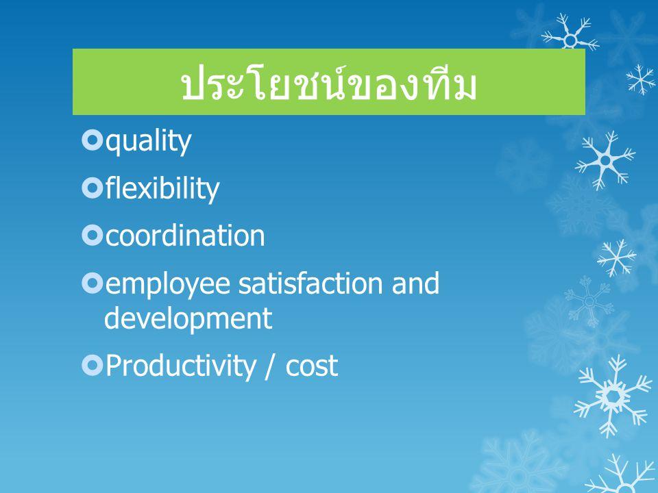 ประโยชน์ของทีม quality flexibility coordination