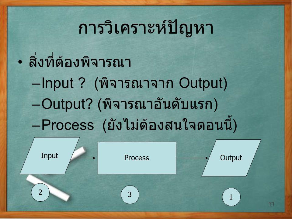 การวิเคราะห์ปัญหา สิ่งที่ต้องพิจารณา Input (พิจารณาจาก Output)