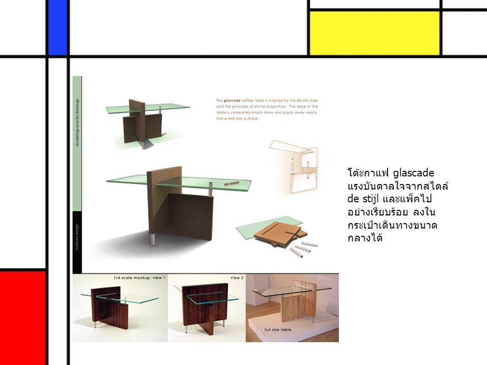 โต๊ะกาแฟ glascade แรงบันดาลใจจากสไตล์ de stijl และแพ็คไปอย่างเรียบร้อย ลงในกระเป๋าเดินทางขนาดกลางได้