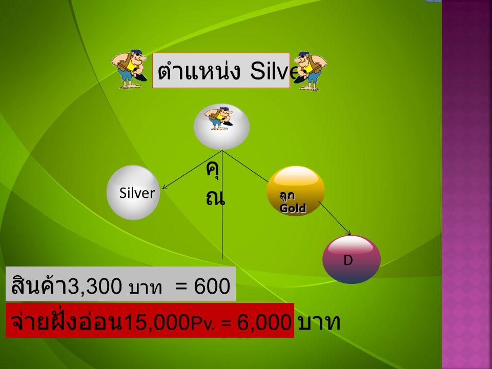 ตำแหน่ง Silver คุณ สินค้า3,300 บาท = 600 Pv.