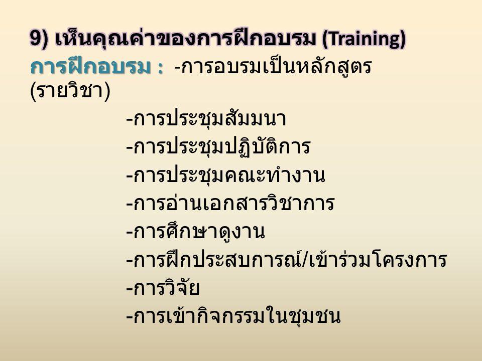 9) เห็นคุณค่าของการฝึกอบรม (Training) การฝึกอบรม : -การอบรมเป็นหลักสูตร (รายวิชา) -การประชุมสัมมนา -การประชุมปฏิบัติการ -การประชุมคณะทำงาน -การอ่านเอกสารวิชาการ -การศึกษาดูงาน -การฝึกประสบการณ์/เข้าร่วมโครงการ -การวิจัย -การเข้ากิจกรรมในชุมชน
