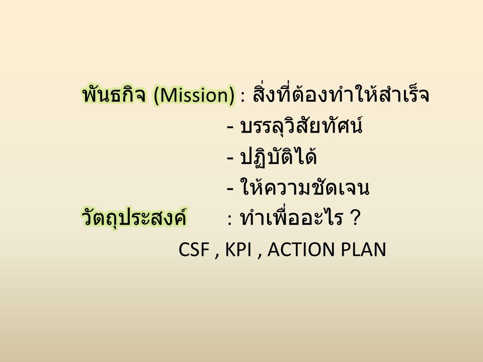 พันธกิจ (Mission) : สิ่งที่ต้องทำให้สำเร็จ - บรรลุวิสัยทัศน์ - ปฏิบัติได้ - ให้ความชัดเจน วัตถุประสงค์ : ทำเพื่ออะไร .