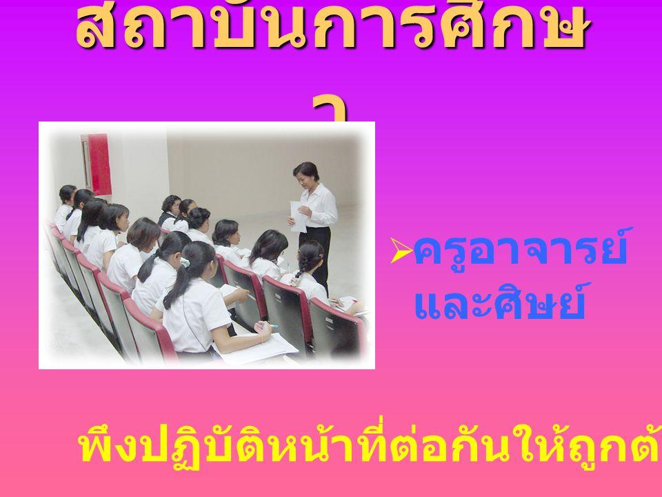 สถาบันการศึกษา ครูอาจารย์และศิษย์