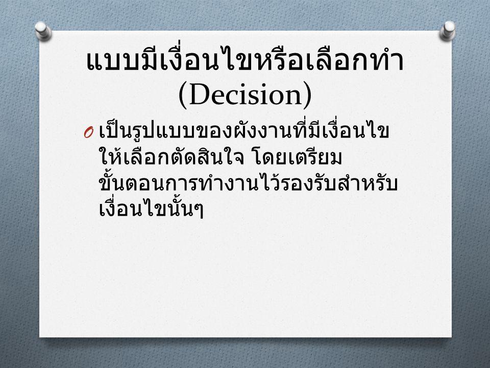 แบบมีเงื่อนไขหรือเลือกทำ (Decision)