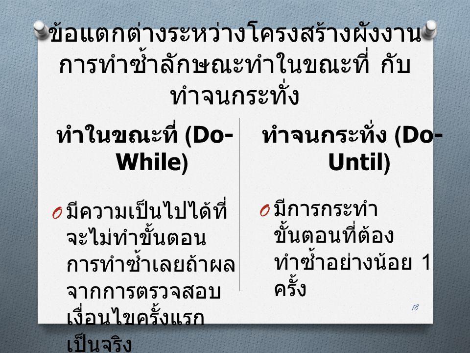 ทำในขณะที่ (Do-While) ทำจนกระทั่ง (Do-Until)