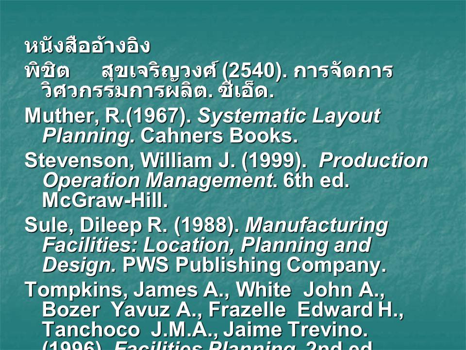 หนังสืออ้างอิง พิชิต สุขเจริญวงศ์ (2540). การจัดการวิศวกรรมการผลิต. ซีเอ็ด. Muther, R.(1967). Systematic Layout Planning. Cahners Books.