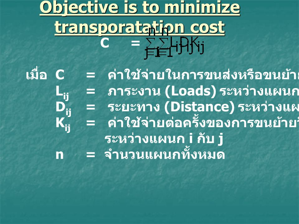 Objective is to minimize transporatation cost