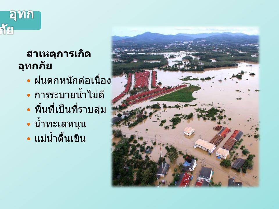 อุทกภัย สาเหตุการเกิดอุทกภัย  ฝนตกหนักต่อเนื่อง  การระบายน้ำไม่ดี  พื้นที่เป็นที่ราบลุ่ม  น้ำทะเลหนุน  แม่น้ำตื้นเขิน