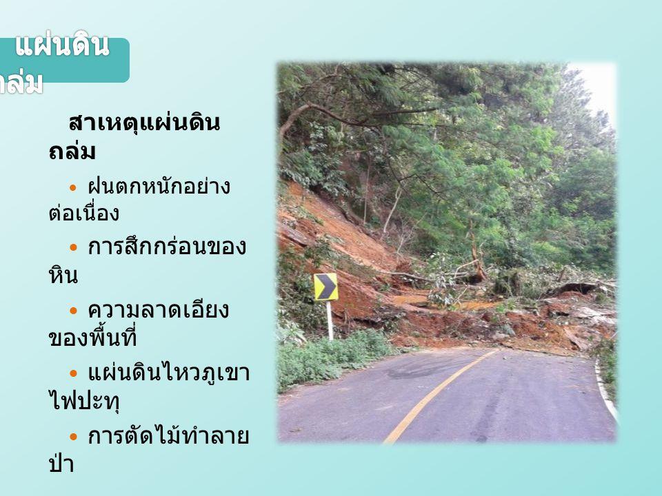 แผ่นดินถล่ม สาเหตุแผ่นดินถล่ม  ฝนตกหนักอย่างต่อเนื่อง