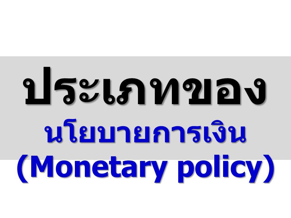 ประเภทของ นโยบายการเงิน(Monetary policy)