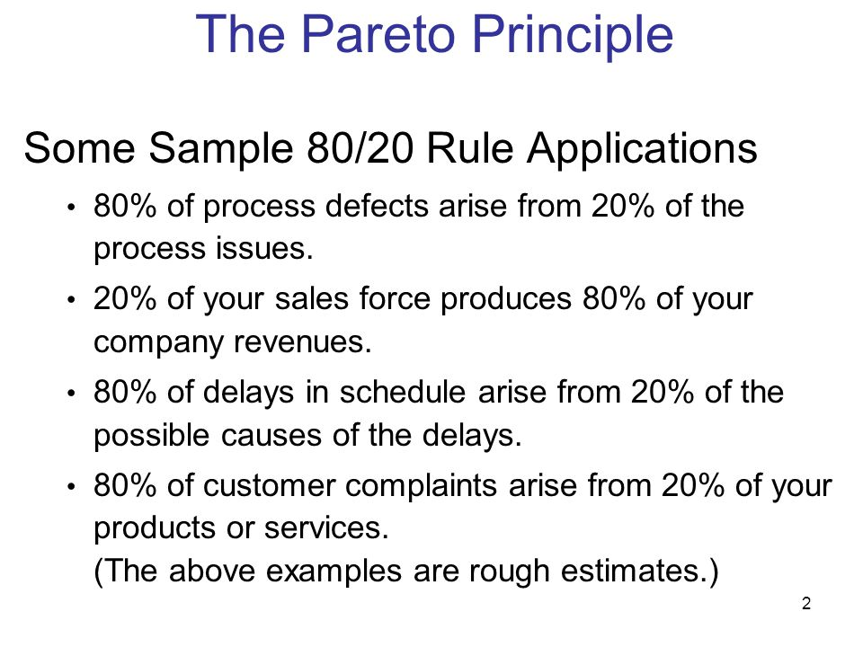 The Pareto Principle Some Sample 80/20 Rule Applications