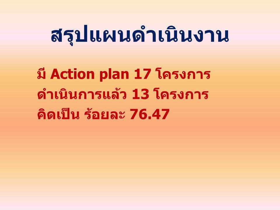 สรุปแผนดำเนินงาน มี Action plan 17 โครงการ ดำเนินการแล้ว 13 โครงการ