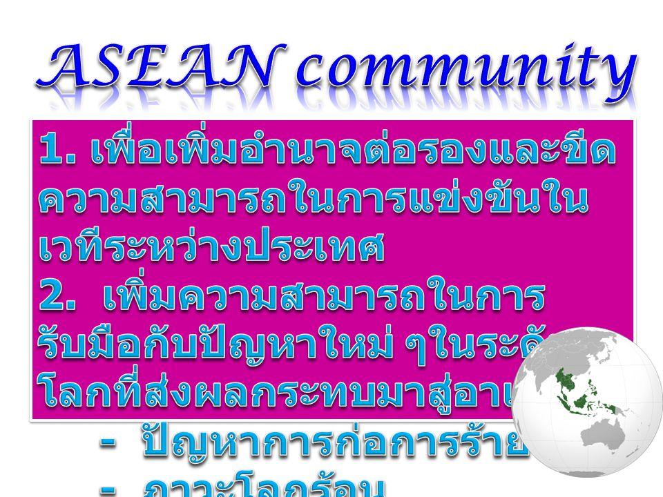 ASEAN community 1. เพื่อเพิ่มอำนาจต่อรองและขีดความสามารถในการแข่งขันในเวทีระหว่างประเทศ.