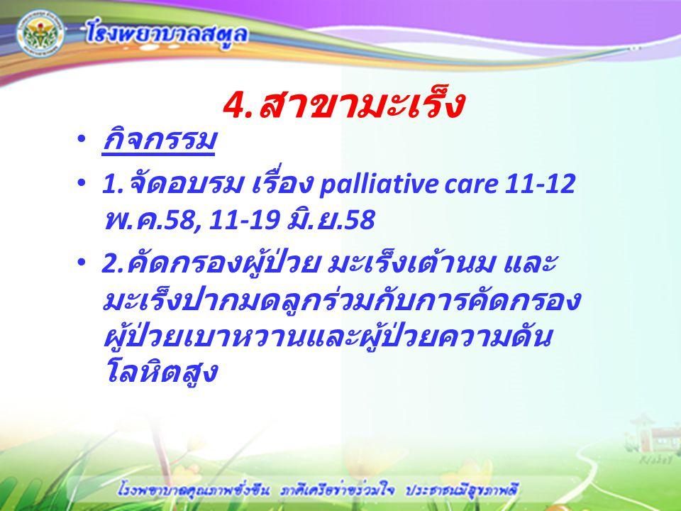 4.สาขามะเร็ง กิจกรรม. 1.จัดอบรม เรื่อง palliative care 11-12 พ.ค.58, 11-19 มิ.ย.58.
