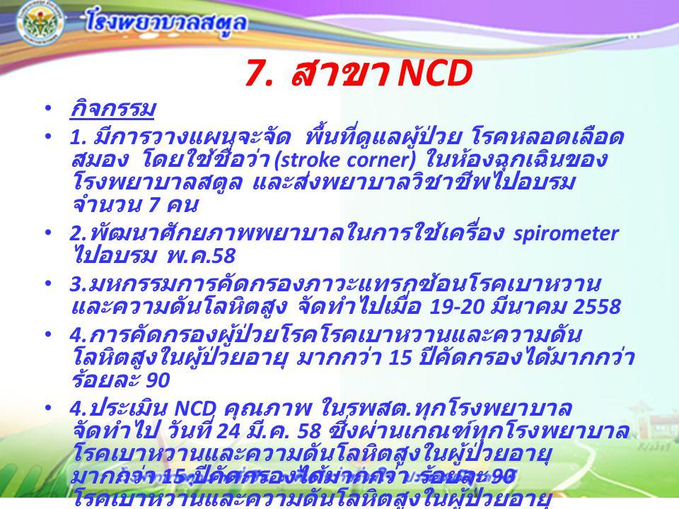 7. สาขา NCD กิจกรรม.