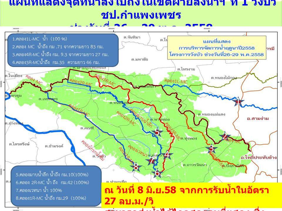 แผนที่แสดงจุดที่น้ำส่งไปถึงในเขตฝ่ายส่งน้ำฯ ที่ 1 วังบัว ชป