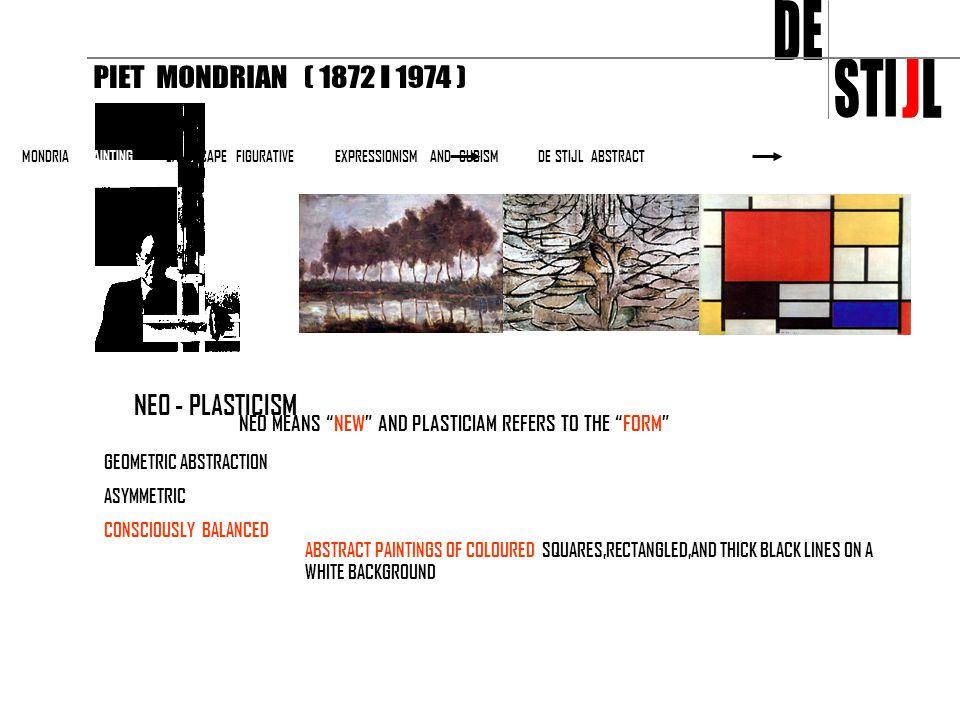 DE STI J L PIET MONDRIAN ( 1872 - 1974 ) NEO - PLASTICISM