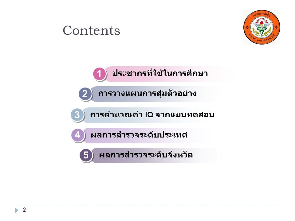 Contents 1 2 3 4 5 ประชากรที่ใช้ในการศึกษา การวางแผนการสุ่มตัวอย่าง