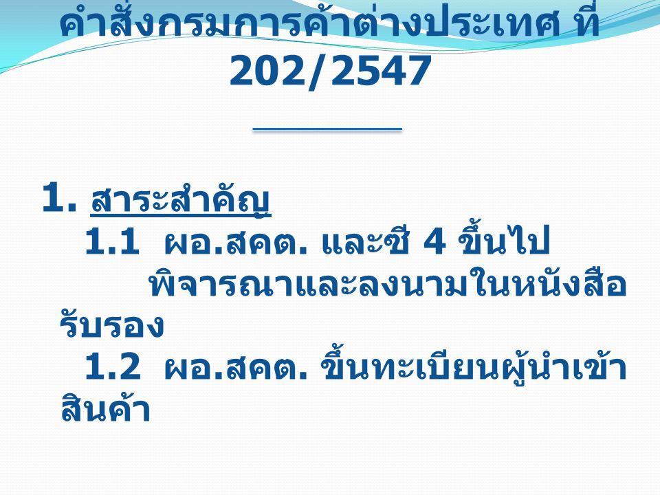 คำสั่งกรมการค้าต่างประเทศ ที่ 202/2547
